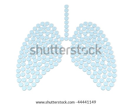 lungs is composed by tablets over white - stock photo