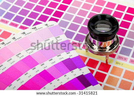 Lupe on a color chart and a color guide (purple) - stock photo