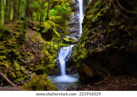 Lupin waterfalls in Strathcona Provincial Park, Vancouver Island, British Columbia. Stylized as painting. - stock photo