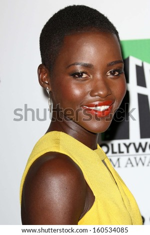 Lupita Nyong'o at the 17th Annual Hollywood Film Awards Arrivals, Beverly Hilton Hotel, Beverly Hills, CA 10-21-13 - stock photo