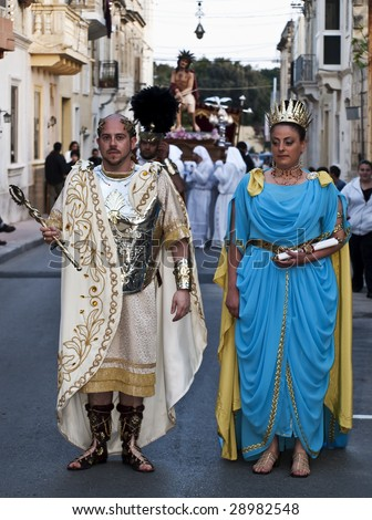 LUQA, MALTA - APR10 - Man dressed as Emperor or Caesar of the Roman Empire during the Good Friday procession in Malta April 10, 2009 - stock photo
