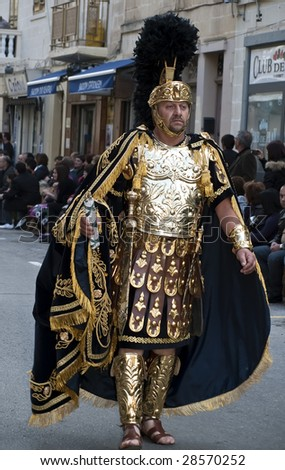 LUQA, MALTA - APR 10 - Man dressed up as Roman General during the Good Friday procession in the village of Luqa in Malta April 10, 2009 - stock photo