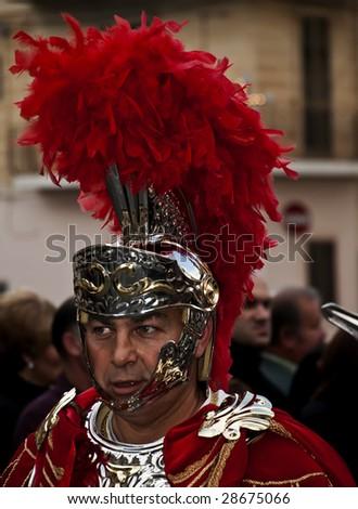 LUQA, MALTA - APR10 - Roman centurion during the Good Friday procesion in Luqa in Malta April 10, 2009 - stock photo
