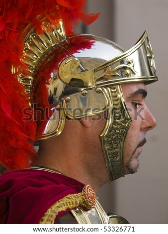 LUQA, MALTA - APR 04: Roman centurion during the Good Friday procesion in Mosta in Malta April 4, 2010 - stock photo