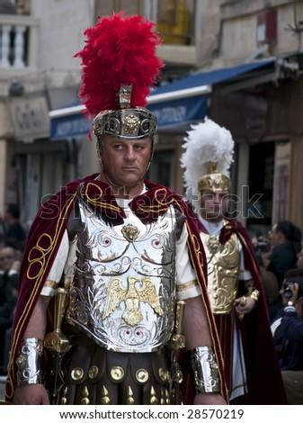 LUQA, MALTA - APR 10- Roman centurion during the Good Friday procession in Luqa in Malta April 10, 2009 - stock photo