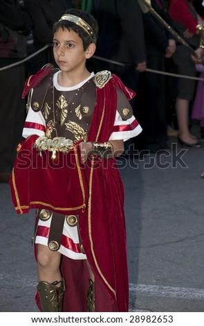 LUQA, MALTA - APR10 - Son of Caesar of the Roman Empire during the Good Friday procession in Malta April 10, 2009 - stock photo