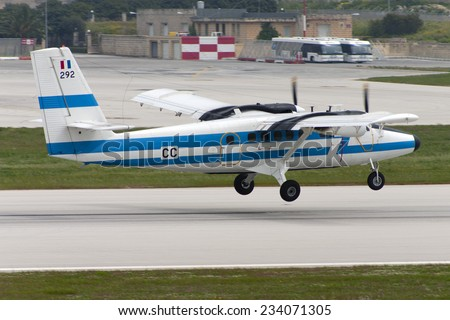 Luqa, Malta April 4, 2005: French Air Force De Havilland Canada DHC-6-300 Twin Otter taking off runway 13. - stock photo