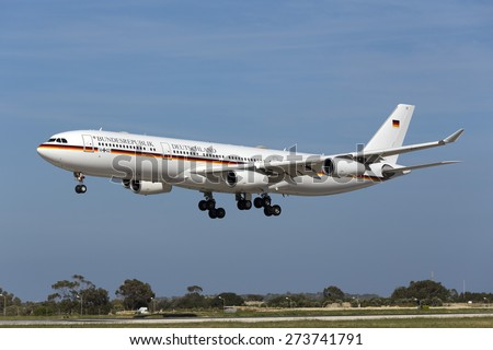 Luqa, Malta April 29, 2015: German Air Force Airbus A340-313 on finals for runway 31. Arriving for the official visit of German President Joachim Gauck. - stock photo
