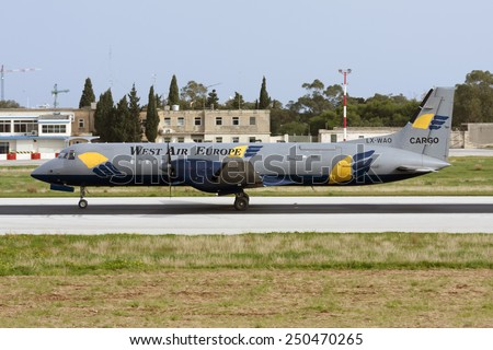 Luqa, Malta December 29, 2008: West Air Europe Cargo British Aerospace ATP(F) landing runway 14. - stock photo