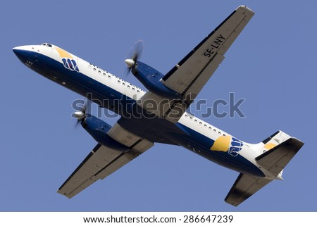 Luqa, Malta June 12, 2015: West Air Sweden Cargo British Aerospace ATP(F) taking off from runway 13, painted in white instead of the usual silver. - stock photo