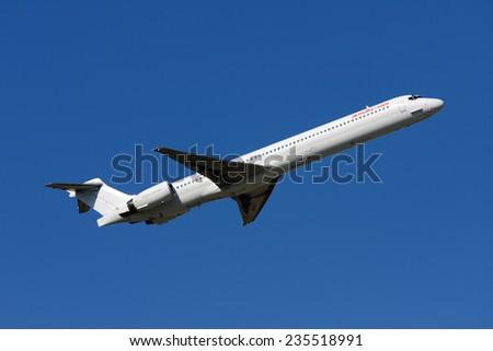 Luqa, Malta March 15, 2008: Air Malta (Hello) McDonnell Douglas MD-90-30 climbing from runway 13. - stock photo