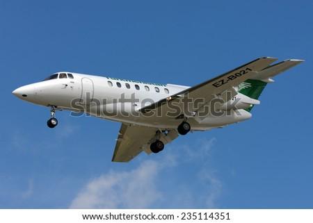 Luqa, Malta March 12, 2008: Turkmenistan British Aerospace BAe-125-1000B on finals runway 31.  - stock photo