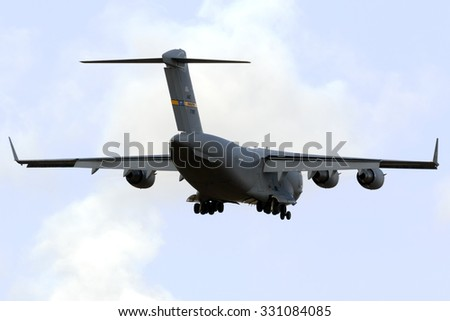 Luqa, Malta October 24, 2015: United States Air Force Boeing C-17A Globemaster III [07-7819] on long finals runway 31, arriving from Ramstein, Germany for a tech stop.