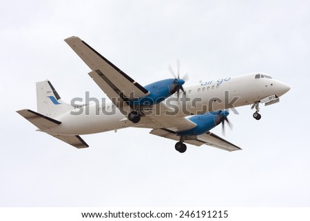 Luqa, Malta September 24, 2010: AirGo Airlines British Aerospace ATP(F) landing runway 31. - stock photo