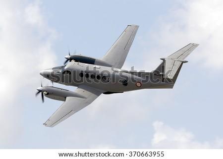 Luqa, Malta September 26, 2015: Malta Armed Forces Hawker Beechcraft B200 King Air taking off rom runway 23. - stock photo