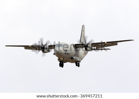 Luqa, Malta September 25, 2015: Romanian Air Force Alenia C-27J Spartan arriving runway 31 to participate in the Airshow during the coming weekend.