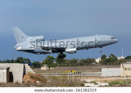 Luqa, Malta September 24, 2011: Royal Air Force Lockheed L-1011-385-3 TriStar KC1 (500) arriving runway 13. - stock photo