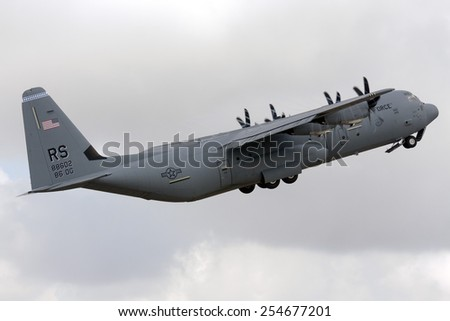 Luqa, Malta September 28, 2009: US Air Force Lockheed Martin C-130J-30 Hercules (L-382) taking off from runway 06, after participating in the Malta International Airshow the previous 2 days. - stock photo