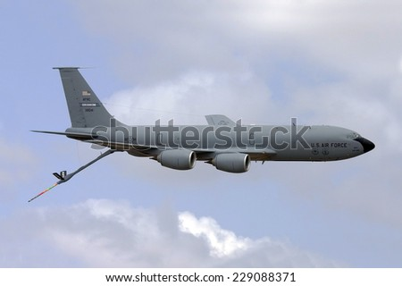 Luqa, Malta September 24, 2007: USAF Boeing KC-135R Stratotanker making a flypast on runway 06 with boom extended. - stock photo