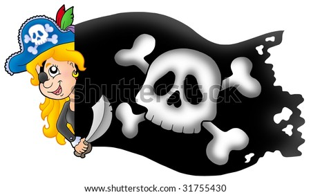 Lurking pirate girl with banner - color illustration. - stock photo