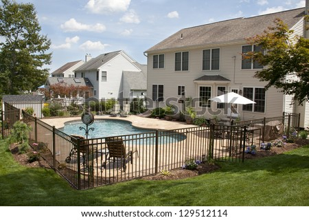 Lush Backyard Pool Patio Behind Colonial Stock Photo 129512114
