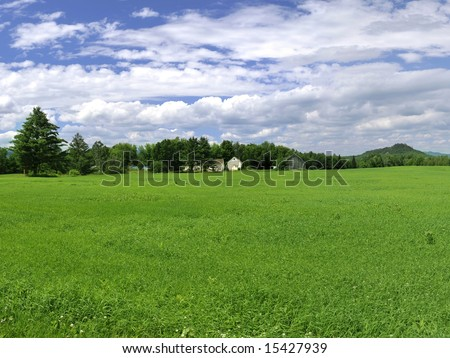 Lush green farm in Northern Vermont