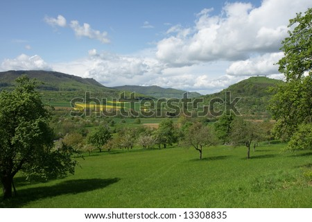 Lush Green fields with trees and hills in the back ground