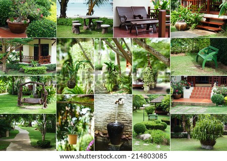 Lush Green, gardening, landscaping, park decoration and design. Set collection. - stock photo