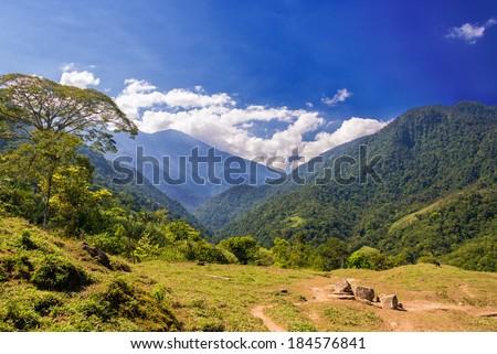 Lush green hills in the Sierra Nevada de Santa Marta mountain range near the Colombia coast - stock photo
