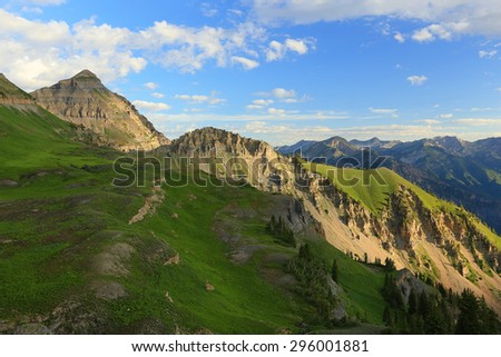 Lush green slope in the Utah mountains, USA. - stock photo