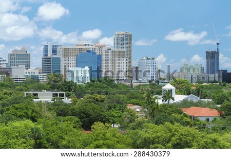 Lush skyline view of downtown Fort Lauderdale, Florida, USA
