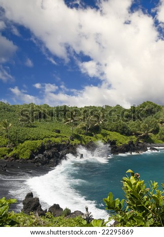 Lush tropical foliage surround a dramatic deserted black sand beach with wild waves - stock photo