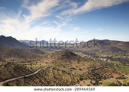 lush valley mountain landscape in morocco anti-atlas - stock photo