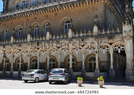 Luso, Portugal - June 10, 2017:  Medieval Bussaco Palace near Luso in Portugal. Palace built in 1628 as a convent