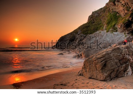 Lusty beach in Newquay, Cornwall, UK - stock photo