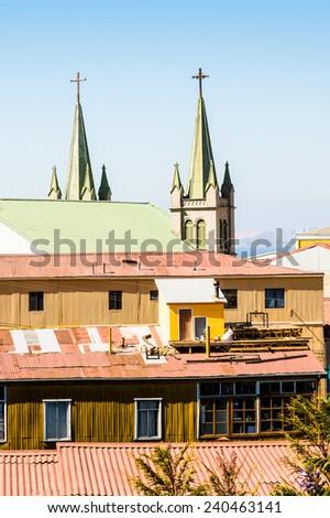 Luteran church chapel in Valparaiso, Chile - stock photo