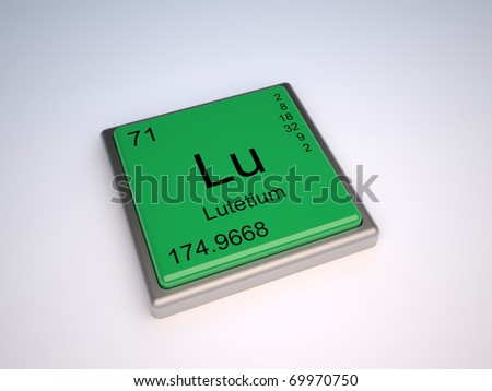 Lutetium chemical element of the periodic table with symbol Lu - stock photo