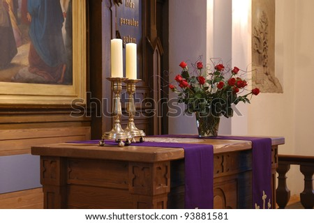 lutheran church altar on lent - stock photo