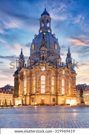 Lutheran church Dresden Frauenkirche in Dresden at night, Germany - stock photo