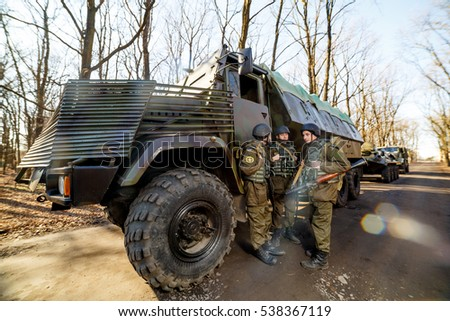 LUTSK, UKRAINE - 17 MARCH 2015:Ukrainian soldiers are part of the missile carried out planned exercises in military training ground in March 17 2015 in Lutsk Ukraine