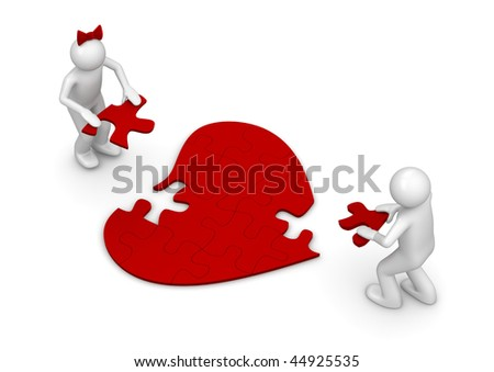 LUV puzzle (love, valentine day series; 3d isolated characters) - stock photo