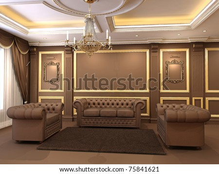 Luxe. Golden decorative and modern chesterfield sofa with armchairs in royal apartment interior. Chandelier. Ceiling construction - stock photo