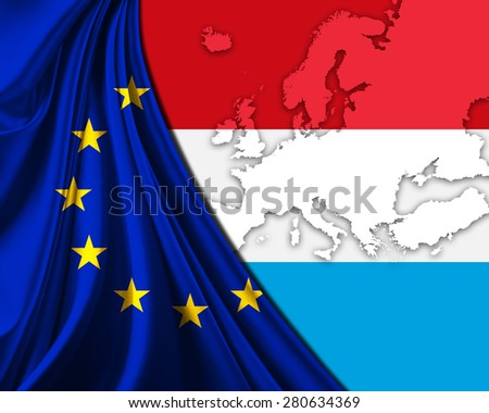 Luxembourg and European Union Flag with Europe map background - stock photo