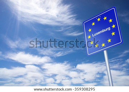 Luxembourg Border Sign with clouds sky. 3D Rendering - stock photo