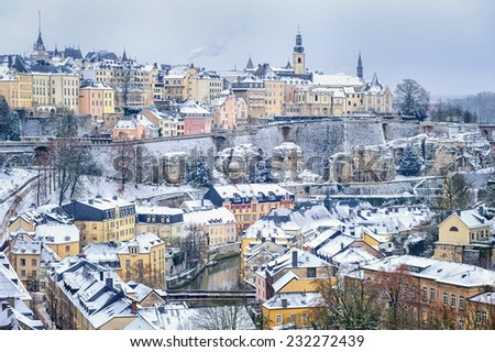 Luxembourg city in winter - stock photo