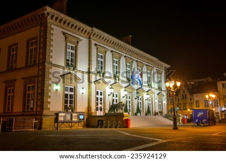 LUXEMBOURG CITY, LUXEMBOURG - APRIL 6, 2014: Luxembourg Town Hall on Place Guillaume II at night on April 6.