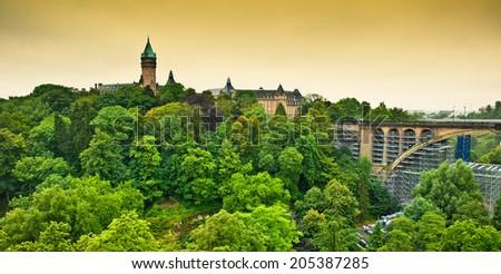 Luxembourg City Panorama  - stock photo