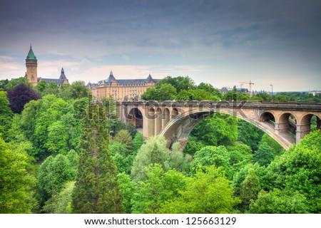 Luxembourg City Panorama, HDRI - stock photo