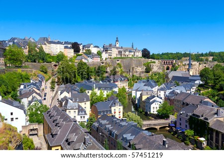 Luxembourg City Panorama on a sunny summer day
