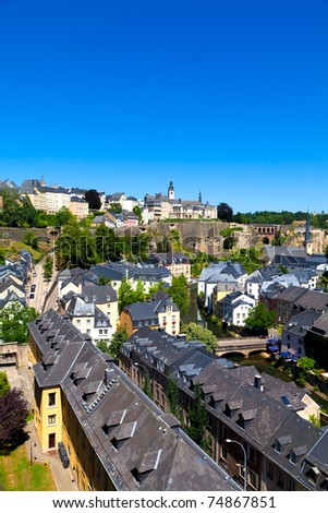 Luxembourg City Panorama on a sunny summer day - stock photo